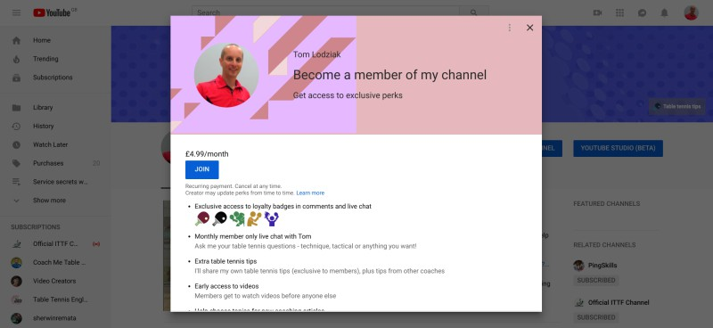 Sign-up for YouTube Membership + get exclusive content
